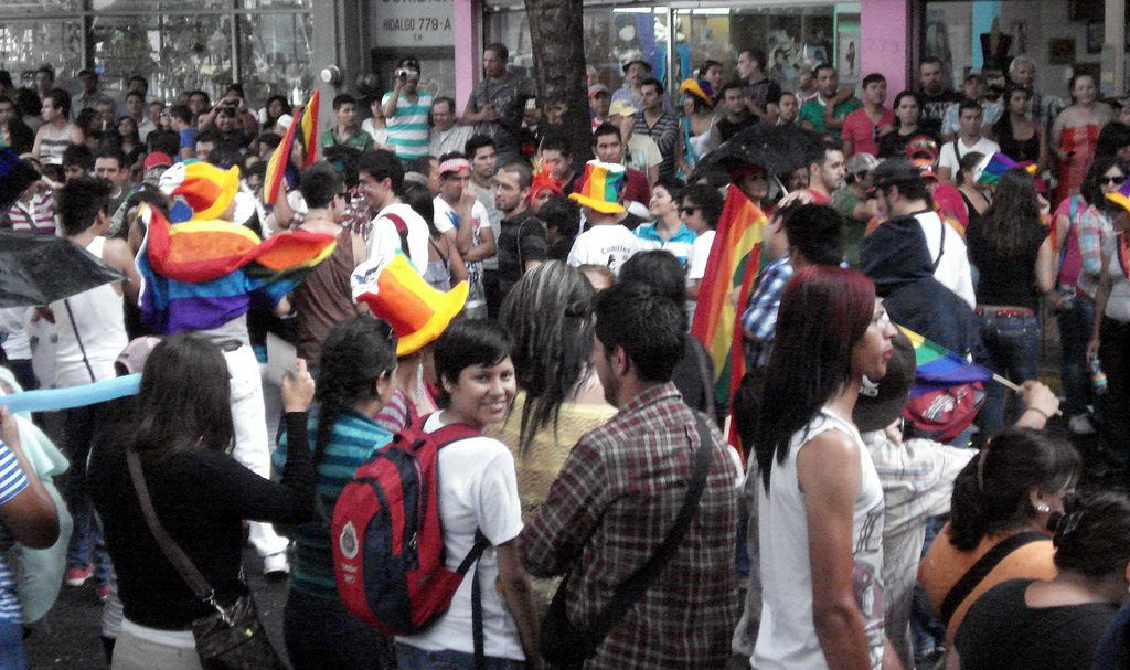 Crowds for the Diversity March in Guadalajara